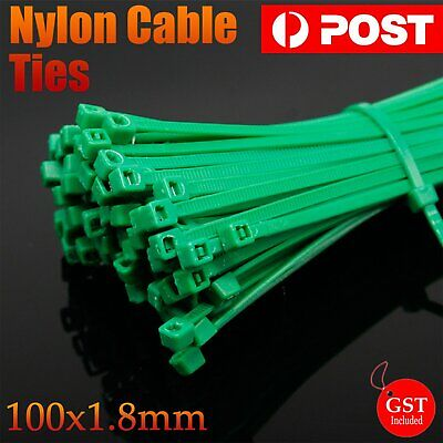 100/200/500/1000x Cable Ties Zip Ties Nylon UV Stabilised Bulk Green Cable Ties