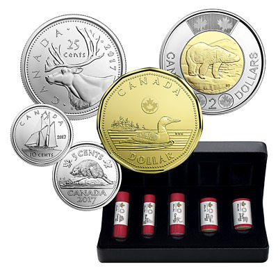 2017 Canada 150th Anniversary Classic design Special Wrap Coin Roll Set $2 $1