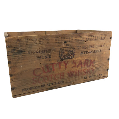 ViNTAGE Wooden CUTTY SARK Scotch Whisky Crate Advertising Crate Re-purpose