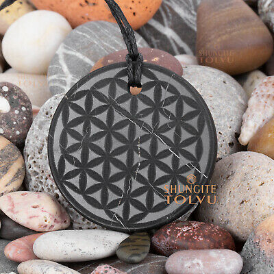 """Shungite pendant engraved amulet """"Flower of Life"""" made of real stone, Tolvu"""
