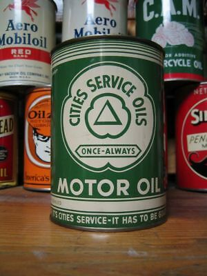 Vintage Original Cities Service Once Always Motor Oil Can Quart Clean Scarce Ver