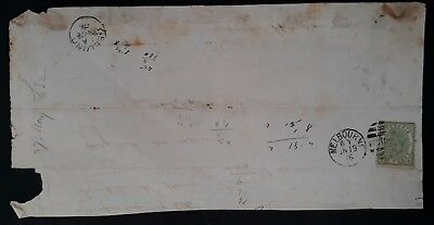 1876 Victoria Australia Part letter Melbourne -Geelong ties 1d Naish&Bell stamp