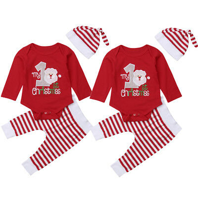 USA Stock Newborn Infant Baby Boy Girls Christmas Romper Clothes Outfit Playsuit