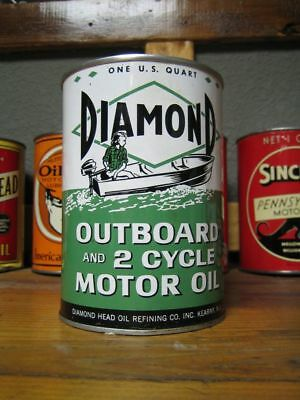 Vintage Original Diamond Outboard 2 Cycle Motor Oil Can Quart Graphic Marine Qt