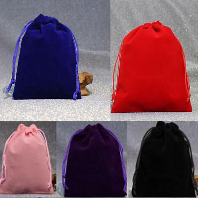 50PCS Velvet Jewelry Drawstring Wedding Gift Bag Favour Pouches Bags 4 Size AU