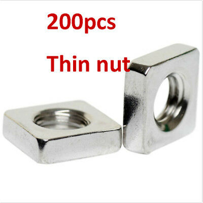 200X M3x5.4x1.8  M4x6.9x2.1 A2 STAINLESS STEEL SQUARE THIN  NUTS  DIN 562 M3&M4