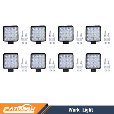 8pcs 48W LED Work Light Flood Spot Light for Off-Road ATV SUV Boat Jeep Truck