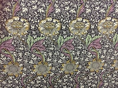 "WILLIAM MORRIS CURTAIN FABRIC ""Kennet"" 1 METER GRAPE & GOLD LINEN UNION"