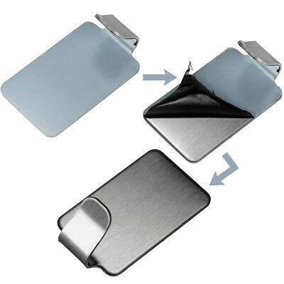 Adhesive Hooks Useful Sticky Stainless Steel Self Stick on Wall Door Tools 2Pcs