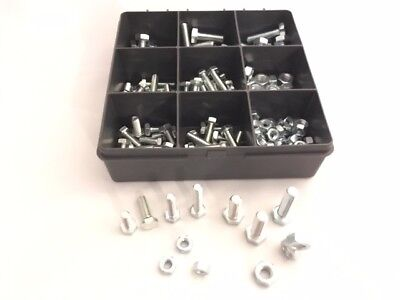 Assorted M6, M8 Grade 8.8 High Tensile Hex Head Set Screw Bolts Full Nuts 180pcs