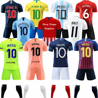Lot New Season Football League Jersey Kits Kids Short Sleeve Shorts Outfit+Socks