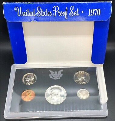 US Mint 40% Silver 1970 Proof Set No Box Plastic Lens Only Key Date Half Dollar