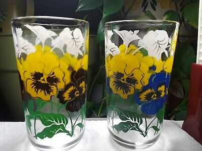 RARE Boscul Set of 5 Peanut Butter Drinking Glass Tumbler's Pansy