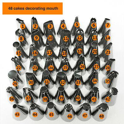 48 Pieces Icing Piping Nozzle Set Tool Cupcake Cake Sugarcraft Pastry Decoration