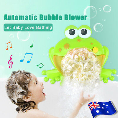 Frog Automatic Colorful Bubble Machine Maker Blower Music Bath Toy for Baby New