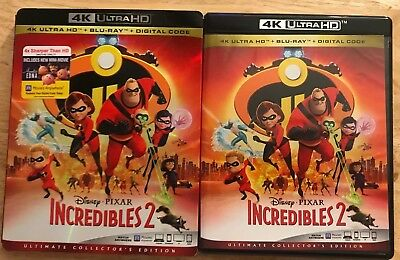 Disney Pixar The Incredibles 2 4K Ultra Hd + Blu Ray 3 Disc Set With Slipcover