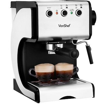 VonShef 15 Bar Espresso Coffee Machine Maker Stainless Steel Cappuccino 1050W