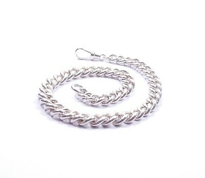 """Antique Graduated Albert Chain Heavy Solid 925 Sterling Silver 52grams 11.5"""""""