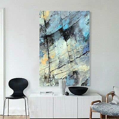 Abstract Graffiti Framed Canvas Aqua Wall Art Print Watercolor Wall Prints