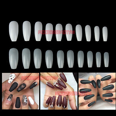 500 PCS Ballerina Coffin Full False Tips Nail Art Gel Acrylic Extension Tips