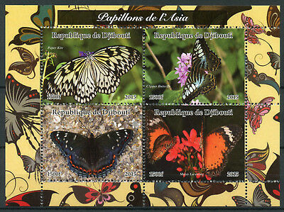 Djibouti 2015 MNH Asian Butterflies of Asia 4v M/S Papillons Butterfly Stamps