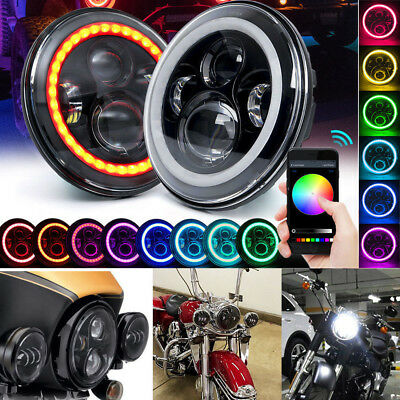 "7"" LED Headlight RGB Halo Angle Eye For Jeep Wrangler JK TJ Bluetooth Music App"
