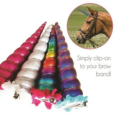 Unicorn Horn Clip for your Pony, Clips on to Brow Band Black/Silver/Purple Horse