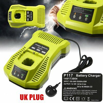 12V-18V Charger Replacement for Ryobi P117 Rechargeable Battery Power Tool CG