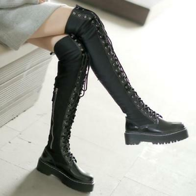 Women Over The Knee Thigh High Boots Lace Up Boots Punk Motorcycle Stretch Shoes