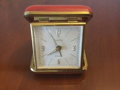 VINTAGE Wind Up Foldable Travel Alarm Clock Europa 2 Jewels Red & Gold