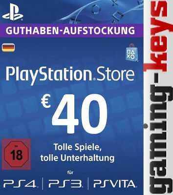 40 EUR DE PlayStation Network Card - PSN PS4 PS Vita 40€ Euro Guthaben DE