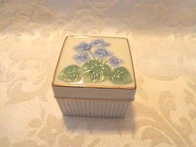 Lenox  Square Shaped Trinket Box With Violet Flowers