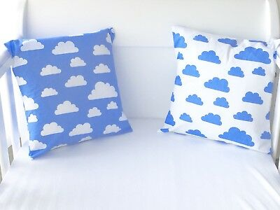 "12"" Handmade Cushion Cover White With Blue Clouds"