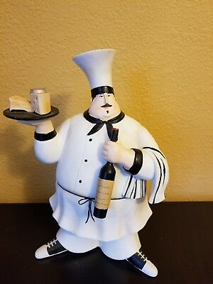 French Italian Fat Bistro Chef Holding Platter Wine Bottle