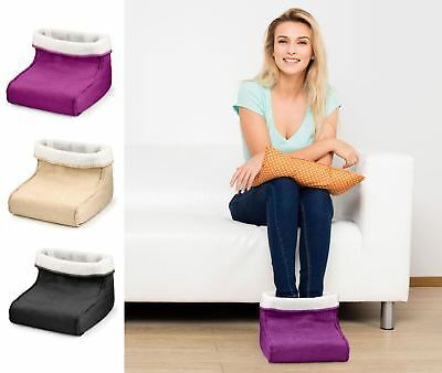 Foot Warmer Massager Soothing Relaxing Electric Heated Hot Feet Faux Fur Fleece
