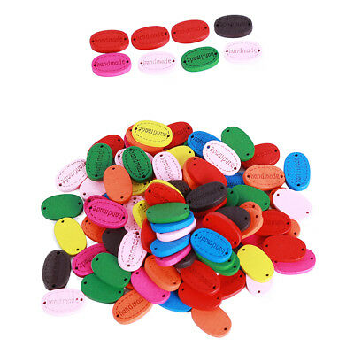 100pcs Handmade Wood Buttons Scrapbooking Craft Sewing Knitting Crotchet Tag Z