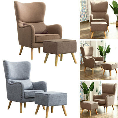 Wing Back Wooden Legs Occasional Side Arm Chair Tub Armchair Bedroom Living Room