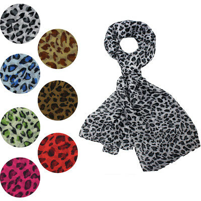 NEW Animal Leopard Print Scarf Shawl Wrap Stole Chiffon Large Long Soft Light UK