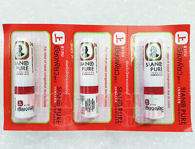 3 SIANG PURE OIL NASAL INHALER DIZZY COLD SINUS RELIEVE CONGESTION RELIEF 2ml.