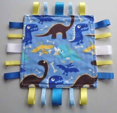 Baby Taggy / Comforter / Blanket, Dinosaurs, Blue  gift,