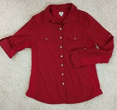 Converse One Star Womens Size XL Shirt Long Sleeve Button Down Red