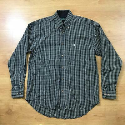 Fred Perry Vintage Navy Blue White Long Sleeved Check Shirt Small S Mod Weller