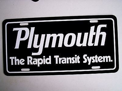 Plymouth RAPID TRANSIT Black license plate tag ROADRUNNER GTX HEMI CUDA DUSTER