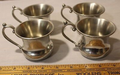 Four (4) Replacement  Kirk Pewter Punch Bowl Cups w/Handle #251