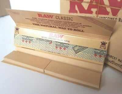 Raw papers. Classic Connoisseur. King size Slim + Tips.Brown unbleached paper.