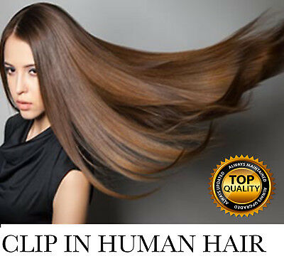 100% Natural Remy Clip in Hair Extensions 8 Full Head Real Human Hair US Ship