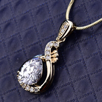 Pear Ribbon Pendant Clear Crystal Sapphire CZ Gold Filled Women Wedding Necklace