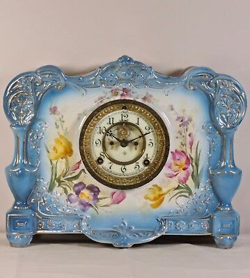 Antique Ansonia/ Royal Bonn LA ROCA Porcelain Case Mantel Clock- Open Escapement