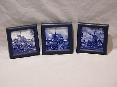 Set of 3 Framed Ter Steege Holland Hand Decorated Blue Delft Tile 4x4 Windmill