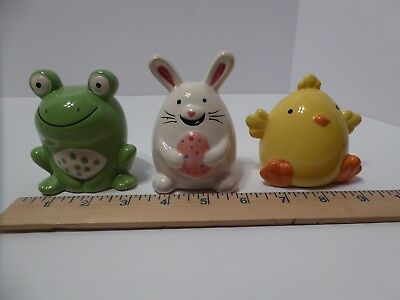 Lot of 3 Small Ceramic Coin Banks Frog Chick Bunny Easter Spring Piggy Bank